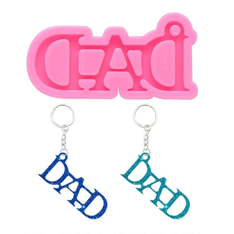 DIY DAD Letters Keychain Mold Epoxy Resin Silicone Mould Craft DIY Necklace Charms Making Jewelry Pendant Clay Moulds silicone mold for jewelry half ball flat round oblat cabochon pendant epoxy resin jewelry mould making craft moulds tools