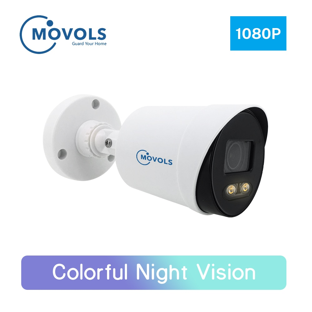 Movols 2mp colorido visão noturna câmera de segurança cctv ahd câmera de vigilância de vídeo ao ar livre analógico à prova dwaterproof água sony sensor câmera
