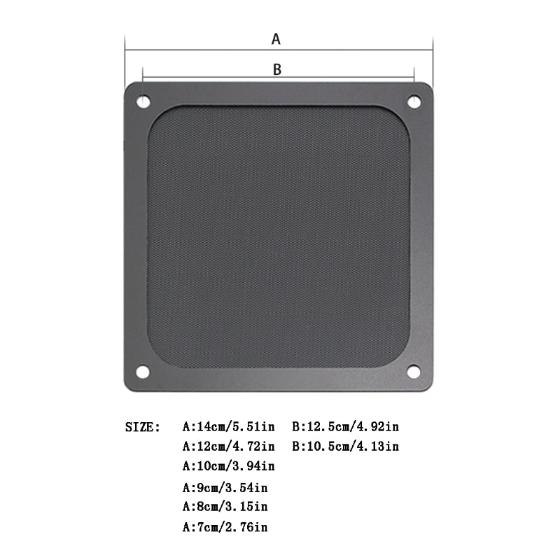 Magnetic Dust Filter Dustproof Mesh Fan Cover Net Grill Guard with Hole for PC Computer Case Cooling Fan