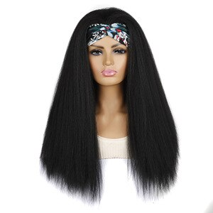 Kinky Straight Full Machince Made 24 Inch Longer Heat Resistant Fiber Head Bands Synthetic Hair Wigs For Black Women