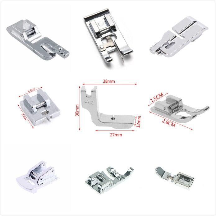 17 estilos de prata overlock vertical presser pés pé de costura presser para acessórios de costura máquina de costura acessórios
