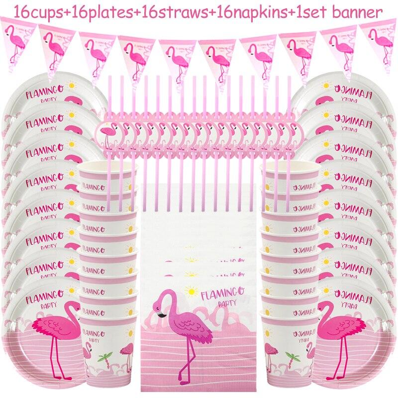 65 unids/set Flamingo desechables conjunto de vajilla para fiesta Hawaii fiesta Luau fiesta flamenco decoración hawaiana verano decoración de la fiesta