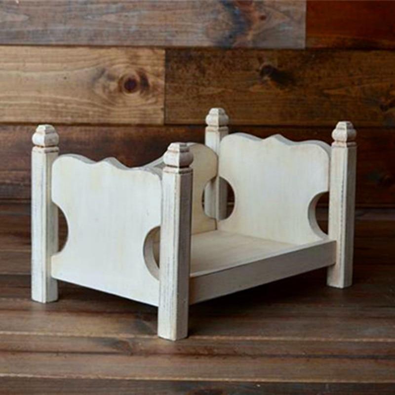 Newborn Photography Props Accessories Vintage Wood Bed Baby Photoshoot Furniture Background Studio Decoration Sofa Boy Bakset enlarge