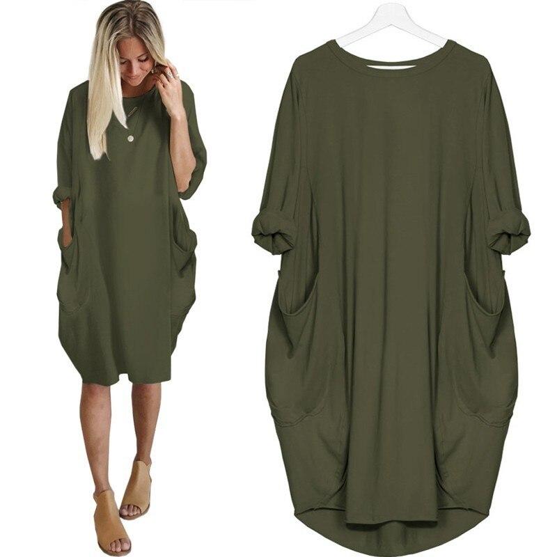 RICORIT Oversize 6 XL Women Casual Loose Dress with Pocket Ladies Fashion O Neck Long Sleeve Tops Female T Shirt Dress Vestidos