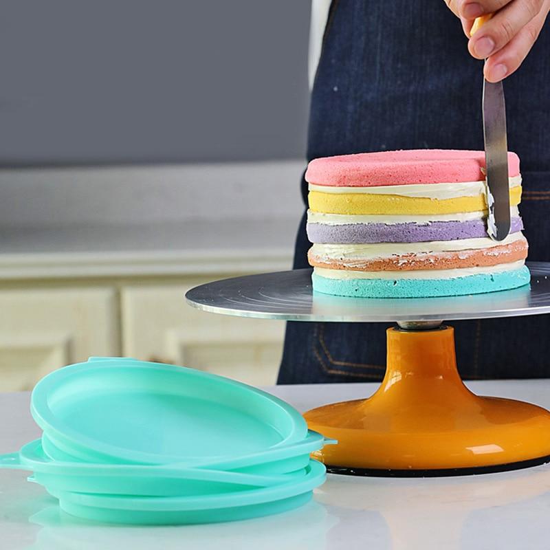 6/8 Polegada arco-íris molde de bolo de silicone antiaderente conjunto de bandeja de cozimento de silicone molde de pizza para ferramentas de decoração de fondant de bolo de arco-íris