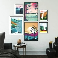 Toile dart murale imprimee  affiche de parc National  paysage naturel de montagne  peinture a lhuile moderne pour salon  decoration de maison
