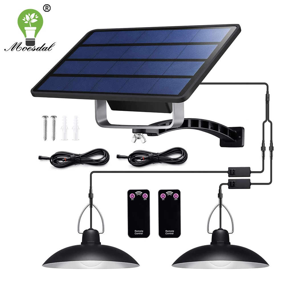 IP65 Waterproof Double Head Solar Pendant Light Outdoor Indoor Solar Lamp With Cable Suitable for co