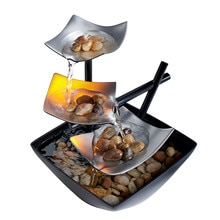3-Tier Tabletop Fountain, Automatic Pump with Power Switch, Basin with Natural River Rocks and Refle