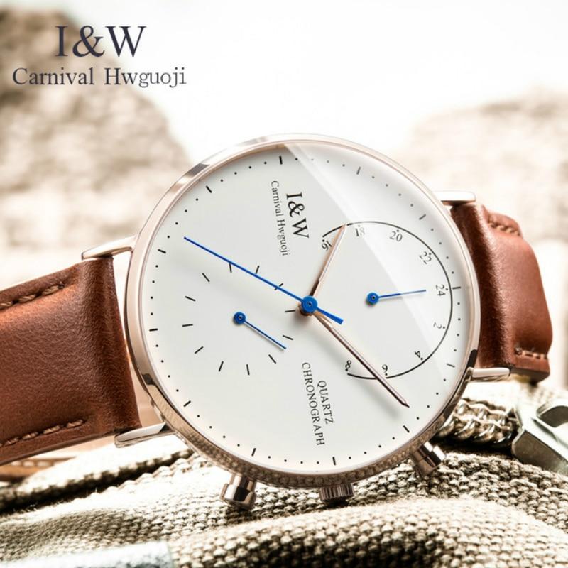 Carnival Brand Fashion Watch Man Luxury Waterproof Luminous Ultra Thin Sapphire Chronograph Quartz Wristwatch Relogio Masculino enlarge