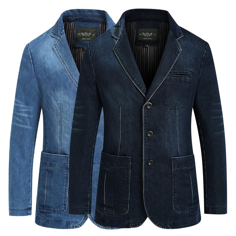 Men's Multi-pocket Classic Retro Denim Suit 2021 Spring And Autumn New Loose Casual Cotton Plus Size Jacket Male Brand Slim Coat