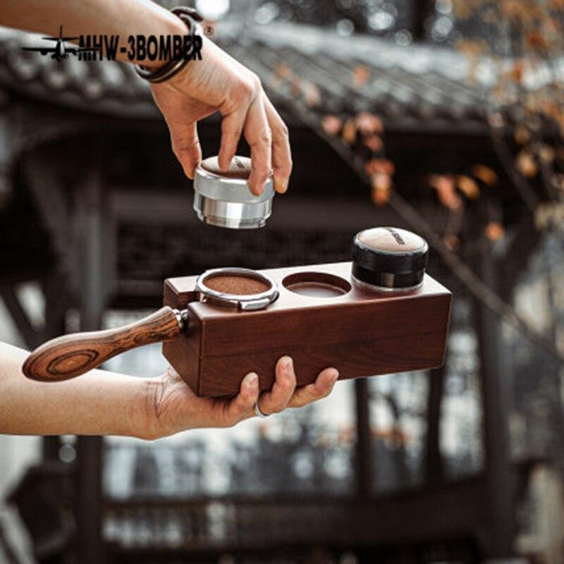 حامل فلتر قهوة باريستا ، موزع إسبرسو من خشب الجوز ، حامل ، قاعدة دعم ، ملحقات القهوة
