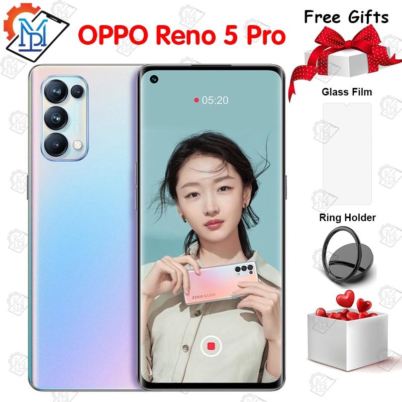 Перейти на Алиэкспресс и купить Оригинальный Oppo Рино 5 Pro 5G мобильный телефон 6,55 Inch 8G + 128G MT6889Z Octa Core Android 11 64MP Камера 65 Вт Супер Зарядное устройство смартфона