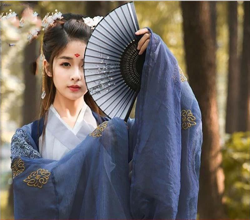 Hanfu-زي صيني تقليدي قديم للنساء ، كيمونو ، زي تنكري للهالوين ، أزرق ، مقاس كبير 2XL