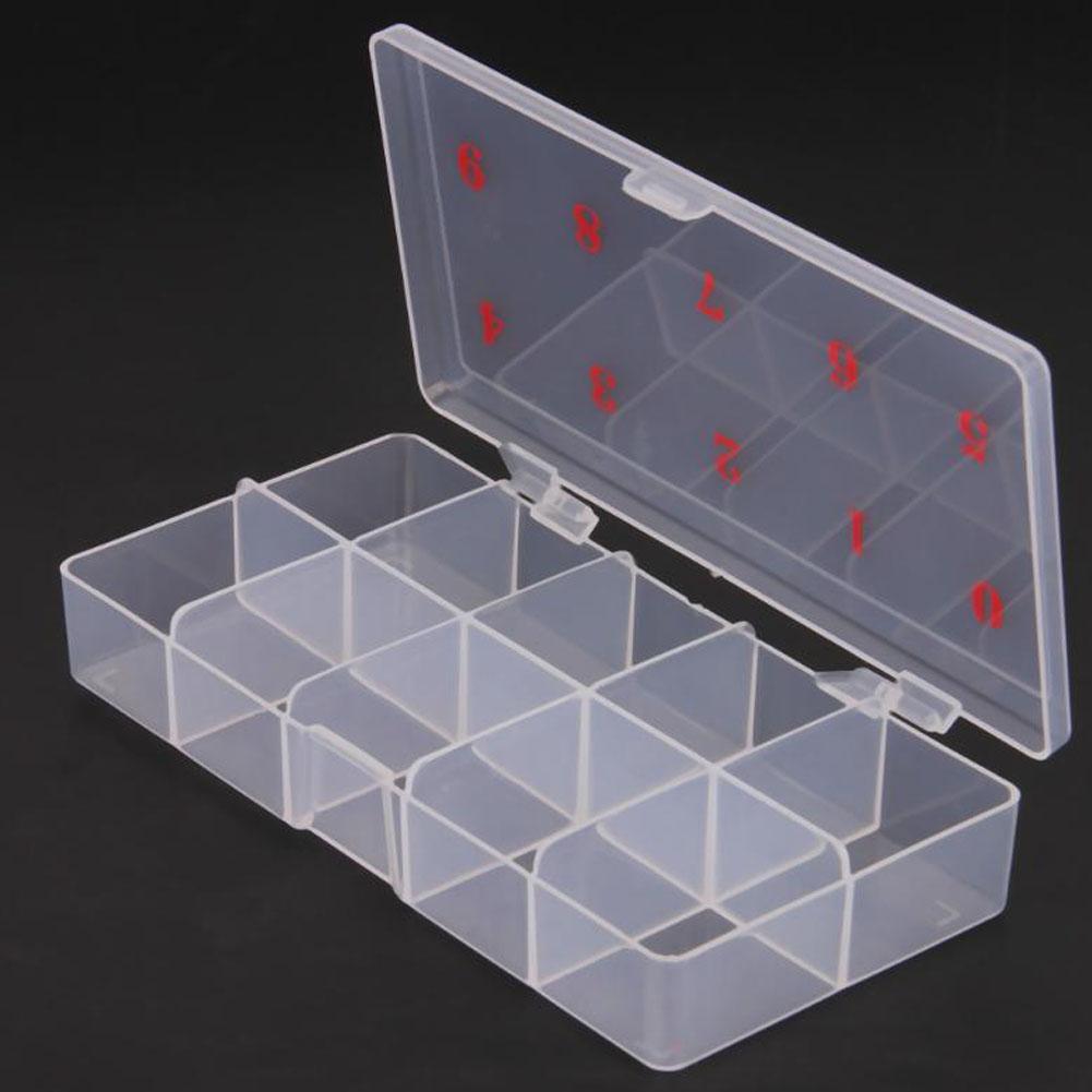 10 Grids Zahlen Kunststoff Gefälschte Nagel Tipps Lagerung Fall Box Container Organizer Nail art Container Falsche Nagel Display Fall
