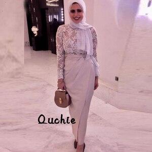 Slit Muslim Evening Dress Long Sleeves Illusion Scarf Special Occasion robe soiree Islamic Dubai Kaftan Saudi Arabic Prom