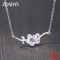 zdadan 925 sterling silver purple flower necklace for women fashion jewelry accessories