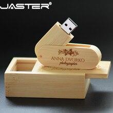 Jaster (logotipo personalizado gratuito) pendrive de madeira usb 2.0 flash drive 8gb 16gb 32gb 64gb rotação usb + caixa de memória vara fotografia