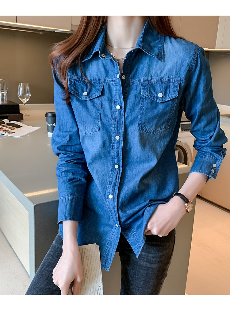 Denim shirt women 2021 spring and autumn new thin bottoming shirt jacket trend