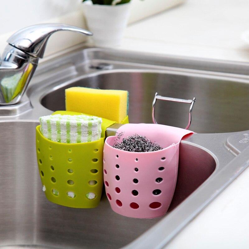 Liquidación venta hogar cocina útil doble fregadero Caddy sillín estilo cocina organizador almacenamiento esponja soporte herramienta