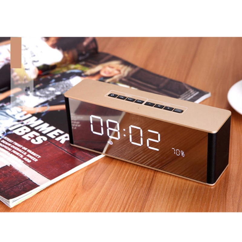 Bluetooth Speaker Digital Alarm Clock Radio Mirror Display Led Display Modern Wireless Call Snooze Function Table Clock enlarge