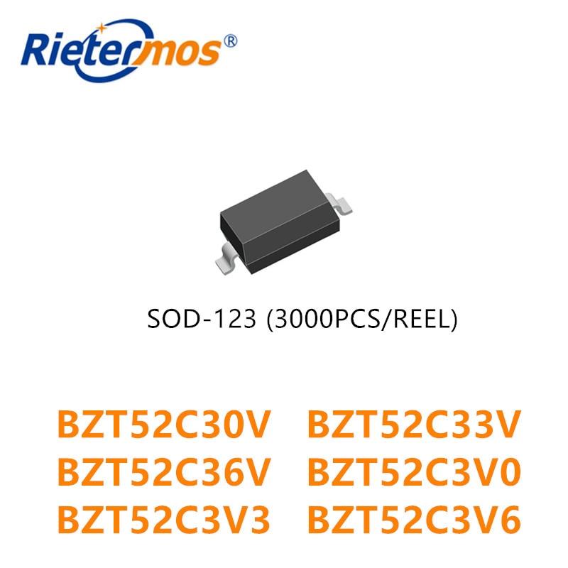 3000 قطعة BZT52C30V BZT52C33V BZT52C36V BZT52C3V0 BZT52C3V3 BZT52C3V6 SOD123 1206 صنع في الصين