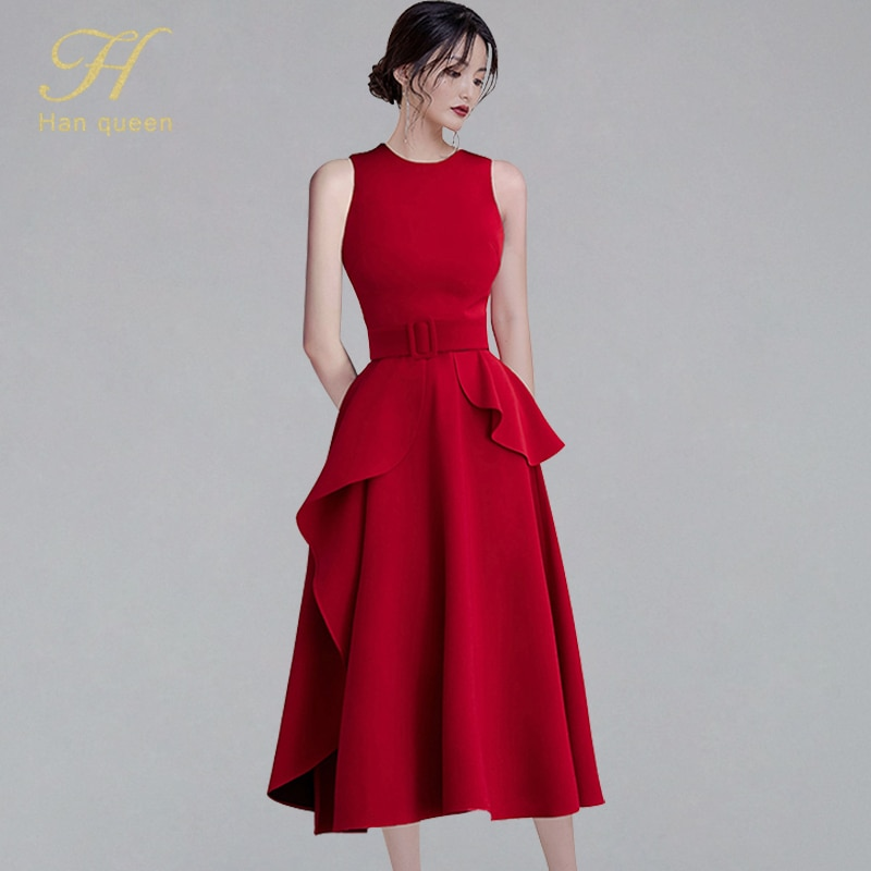 H Han Queen 2020 New Elegant Ruffles Slim Sleeveless Long Dress Women O-neck Red Dresses A-line Evening Party Casual Vestidos