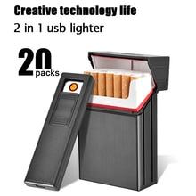 2 en 1 Rechargeable Allume-cigare Avec Étui À Cigarettes Coupe-Vent Briquet Électronique Fumée Briquet Boîte pour Fumer Sans Flamme