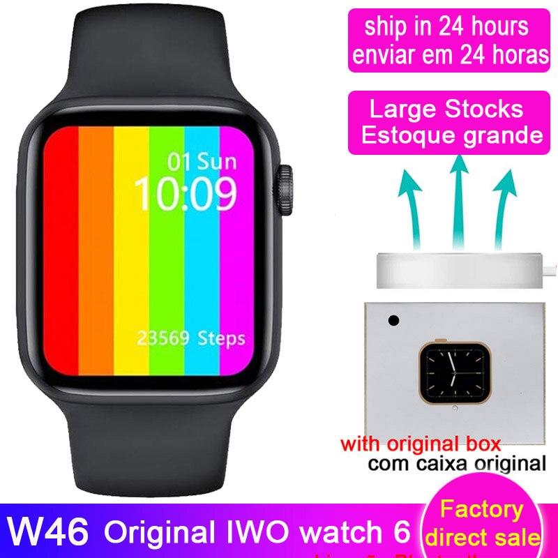 W46 IWO ساعة ذكية 44 مللي متر/40 مللي متر مخصص لتقوم بها بنفسك ساعة الوجه 1.75 بوصة شاشة كبيرة شحن لاسلكي smartwatch دروبشيبينغ W46M