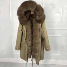 Luxuriöse echt pelzmantel Neue Mode Frau Echt kaninchen pelz futter Parka Große warme fuchs pelz Mit Kapuze Mantel Outwear Winter jacke