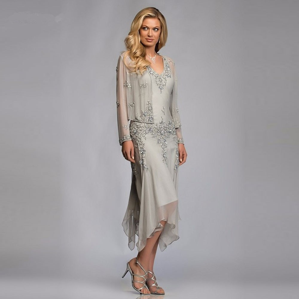 sliver Mother Of The Bride Dresses With Jacket Knee Length Plus Size Wedding Guest Dress Lace Appliq