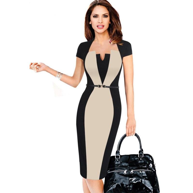 Verano de las mujeres Retro contraste Patchwork cinturón para usar en el trabajo de negocios vestidos Oficina Bodycon lápiz femenina de una pieza vestido de traje