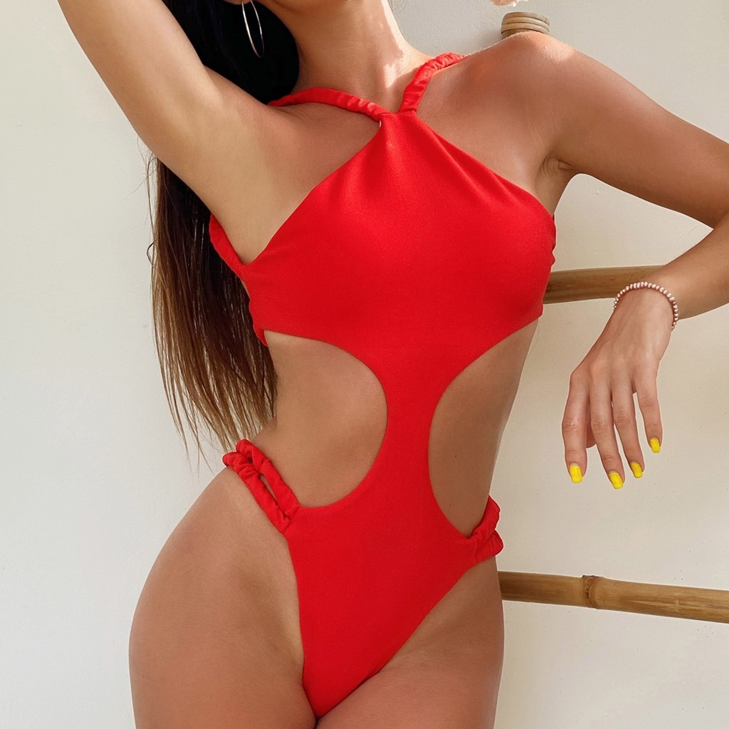 2020 férias wimwear sexy lady sling neck bikini siamese vermelho Puro fio net sexy elasticidade bathing suit swimsuit fêmea madura