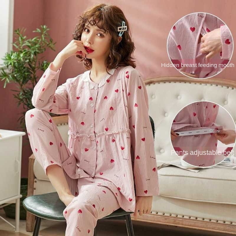Confinement clothes summer thin gauze pregnant women's pajamas postpartum going out for nursing clothes spring and autumn