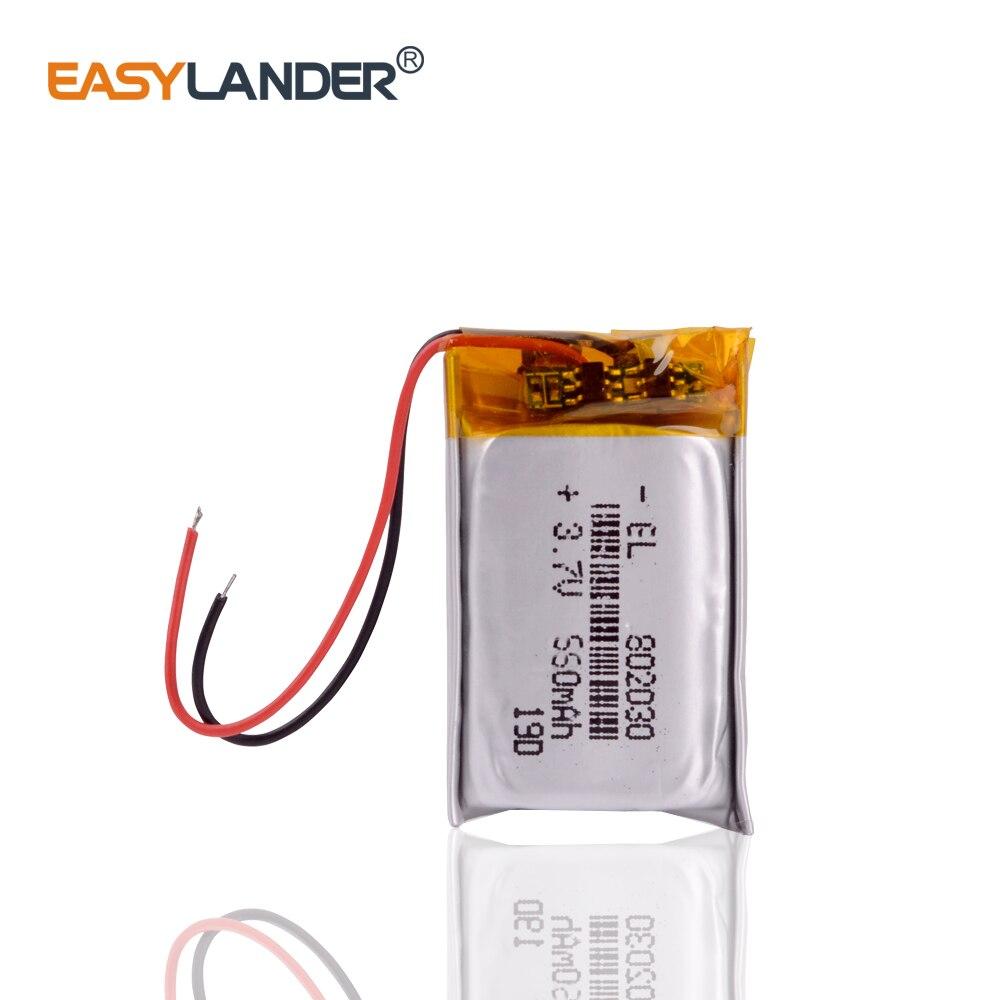 802030 550mAh 3,7 V batería de polímero de litio MP3 MP4 MP5 Li ion baterías de masaje reemplazo en neoline evo z1 auto-Registro
