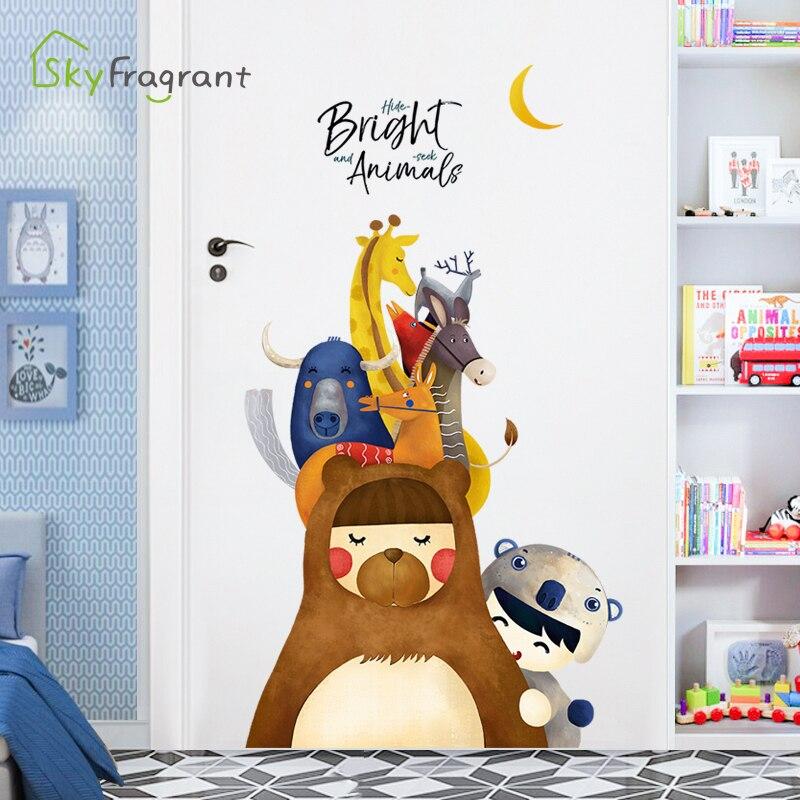 Pegatina de pared de animales de dibujos animados, decoración para la habitación de los niños, decoración del hogar, pegatinas de puerta autoadhesivas, decoración del dormitorio del bebé, decoración creativa para pared