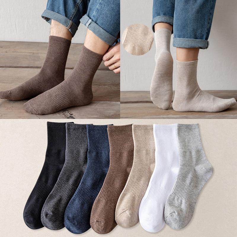 Новинка 2021, мужские цветные хлопковые носки, размеры 39-46, осенние длинные носки для мужчин, мужские классические подарки, деловые повседневн...
