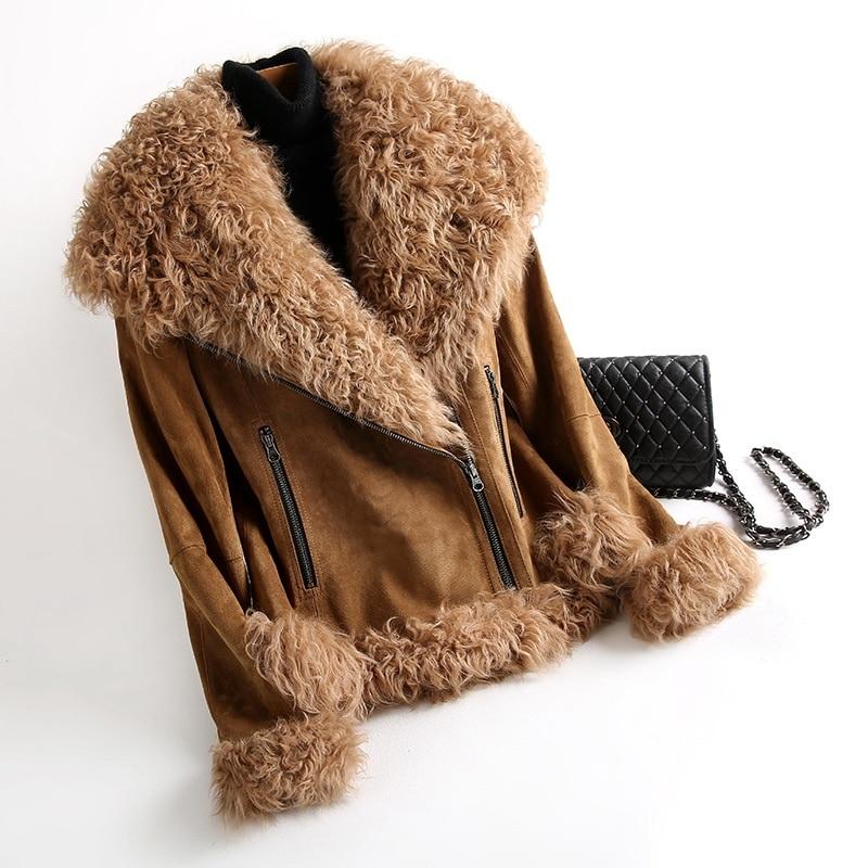 SHZQ جديد معطف جلد الغنم الحقيقي معطف المرأة سترة جلدية حقيقية مع الفراء الحقيقي الأغنام الفراء أبلى روسيا الشتاء معطف دافئ