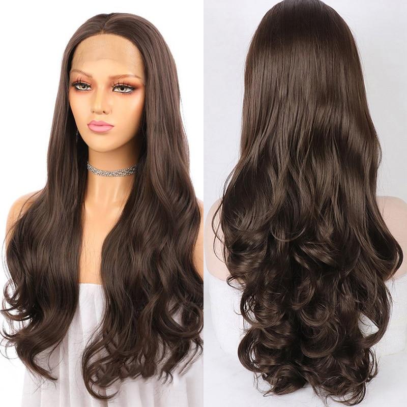 بني داكن 26 بوصة طويل الجسم موجة الاصطناعية الدانتيل شعر مستعار أمامي للنساء السود مع BabyHair خط الشعر الطبيعي غلويليس
