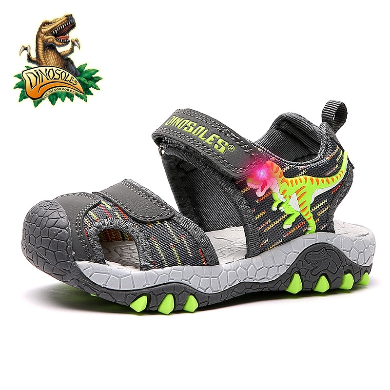 Dinoskulls-صنادل صيفية للأطفال ، أحذية T-Rex بإضاءة LED ، ديناصور ، أحذية مغلقة من الأمام ، مسامية