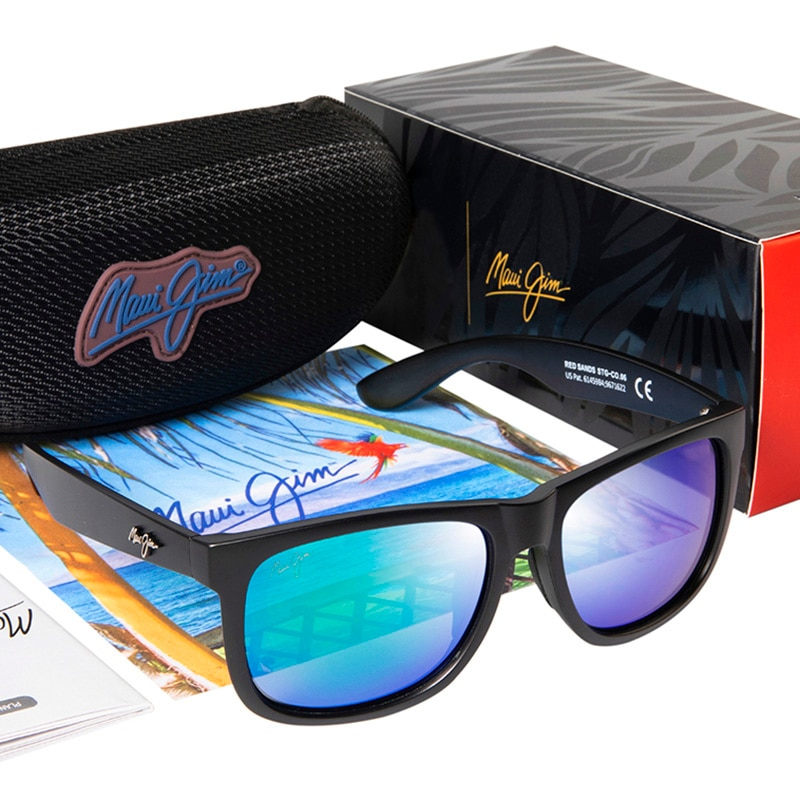 Maui Jim Polarized Sunglasses Men Driving Shades Male Red Sands Brand Design Square Sunglasses Sport