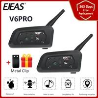 EJEAS V6 Pro 850mAh Bluetooth Motorcycle Communicator Helmet Intercom Headset With Mic 1200m Interphone For 6 Riders +Metal Clip