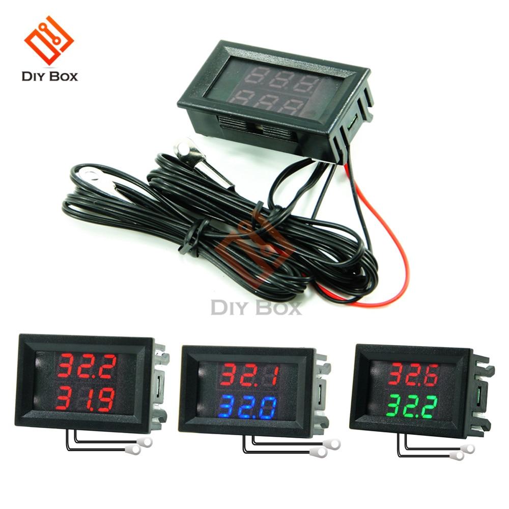 DC 4V-28V Mini Dual Display Digital Thermometer W/ Dual NTC Waterproof Metal Probe Temperature Sensor Tester for Car Room Indoor