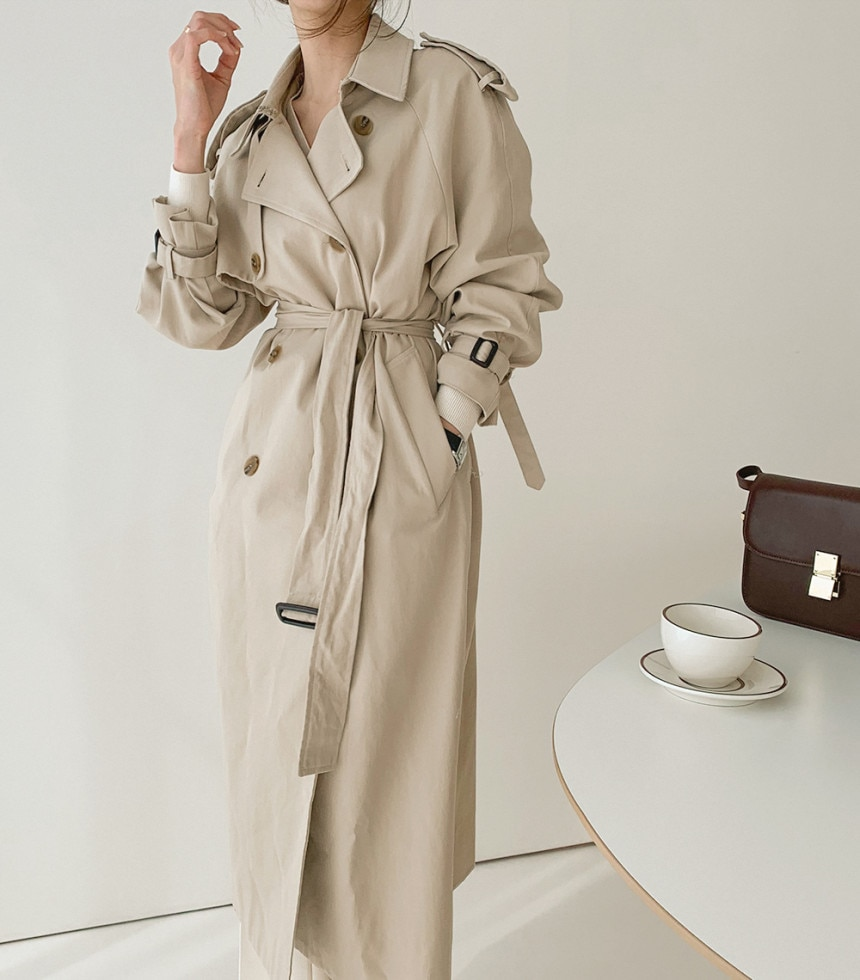New Fashion Autumn Winter Casual Double Breasted Simple Classic Long Trench Women's Coat With Belt C