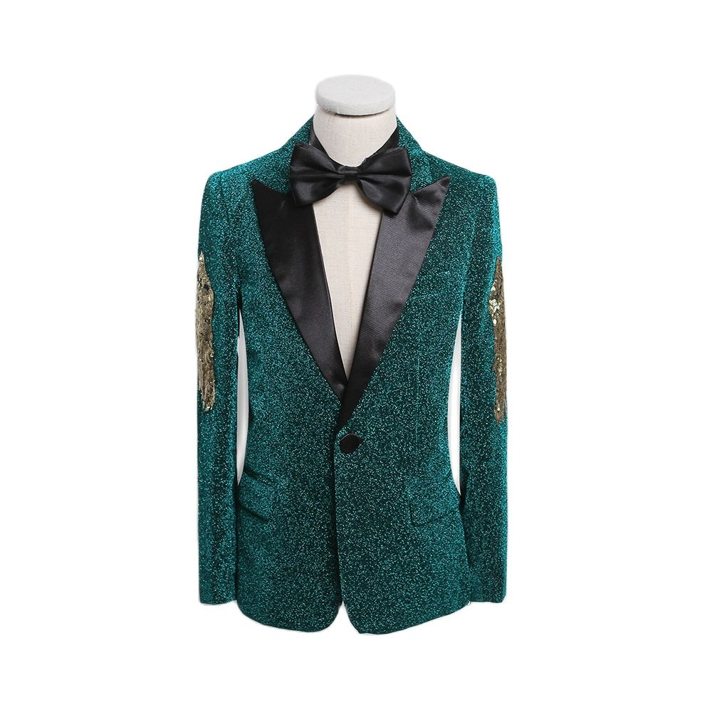 Green Sequined Kids Suits 2021 Children Blazes Flower Wedding Party Dress Boys Clothes With Button