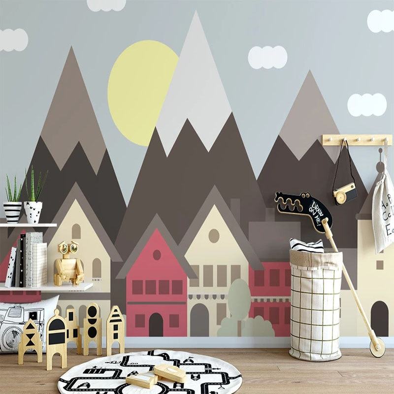 Papel pintado Mural personalizado autoadhesivo impermeable 3D dibujos animados pintados a mano papeles de pared de casa habitación de los niños pegatinas 3D decoración del hogar