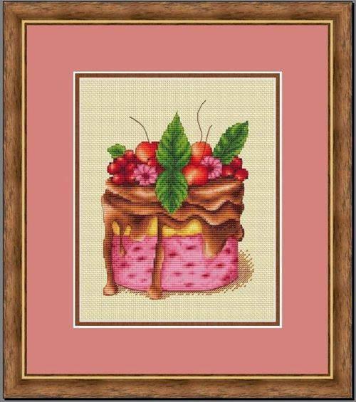 Kit de punto de cruz de algodón con punto de cruz de la revista raspberry Mint Cake