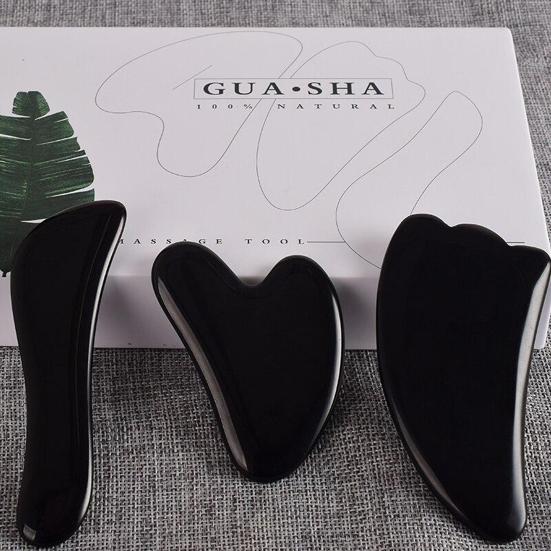 Natural Black Obsidian Scraping Board Set Face Body Scraper Foot Guash Scratch Massager Crystal Stone Gua Sha Massage Tools