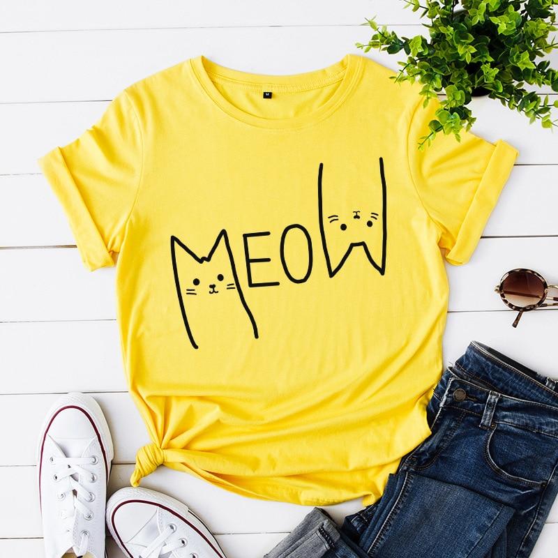 Nette Meow Katze Frauen T Shirt Sommer Cartoon Lustige Tier T-Shirt 100% Baumwolle Lose T-shirts Mode Große Größe Frau T tops