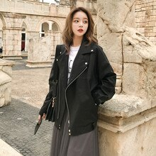 Fashion Oversized Coat Women Faux Leather Jacket Spring Autumn Winter Loose Biker Motorcycle Jackets