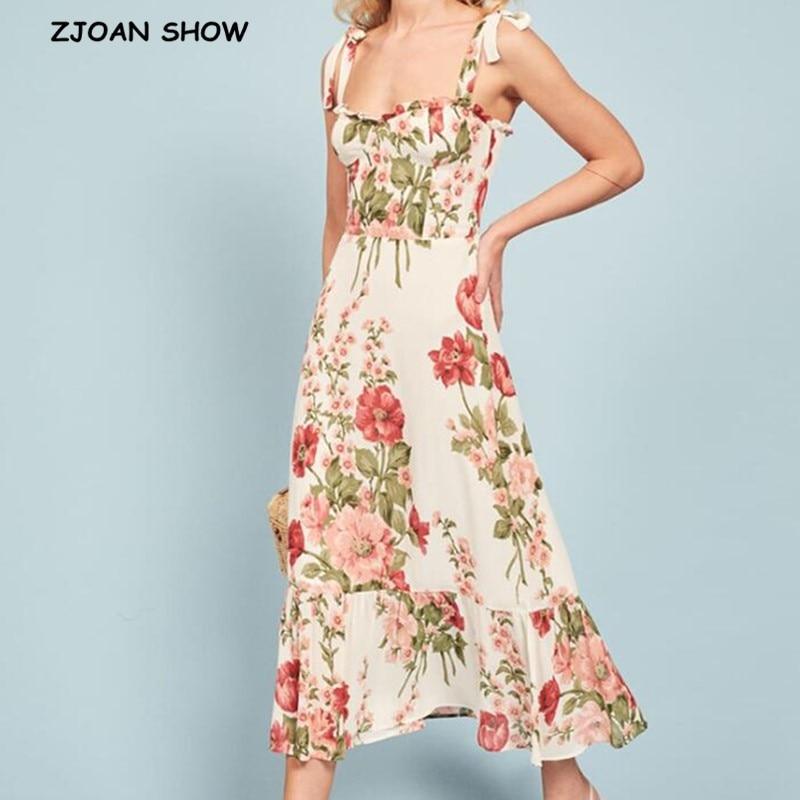 2020 French Summer Flower Print Tie Bow Spaghetti Strap Long Dress Retro Women Wood ear V neck Ruched Back Sling Tea Dresses